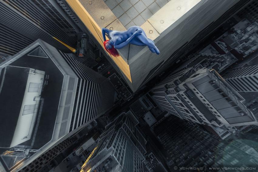 Superheroes on Skyscrapers : Mystique