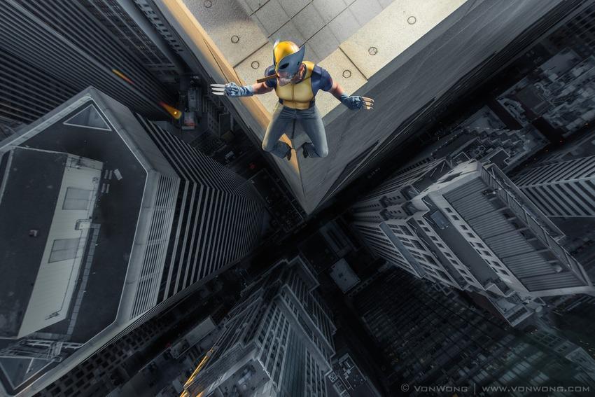 Superheroes on Skyscrapers : Wolverine