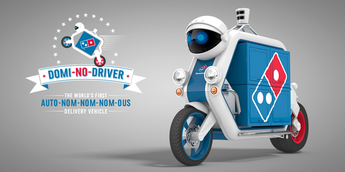 Domi-No-Driver : le robot livreur pizza de Dominos (poisson d'avril 2015)
