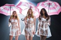 Candice Swanepoel, Elsa Hosk et Jasmine Tookes en lingerie sous un parapluie pour Victoria's Secret.