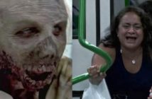caméra cachée avec des zombies dans le métro au Brésil