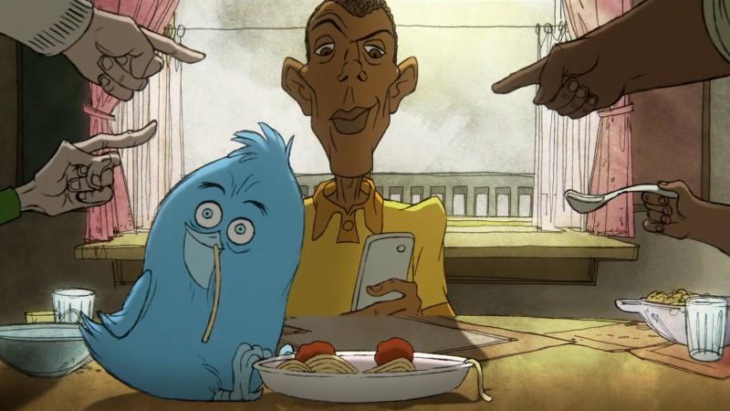 Stromae et son oiseau twitter dans le clip d'animation carmen