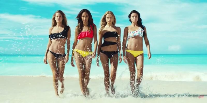 Natasha Poly, Doutzen Kroes, Adriana Lima et Joan Smalls en maillot de bain dans la pub H&M été 2015