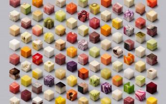 Une photo d'art culinaire avec 98 cubes de nourriture colorés