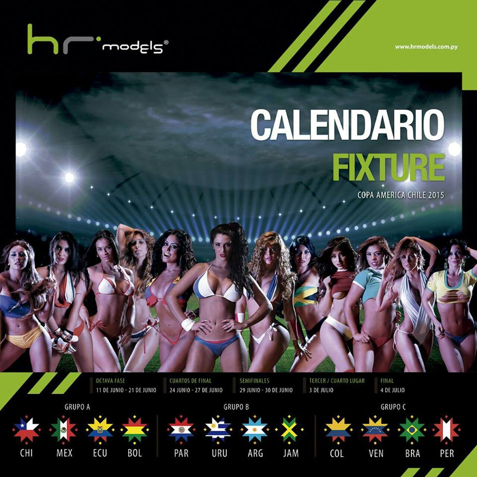 Couverture du calendrier sexy de la Copa America 2015 par HR Models
