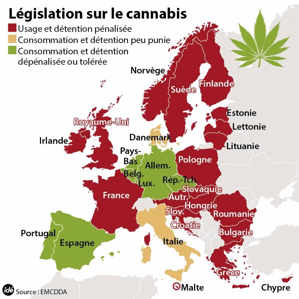 Infographie : la légalisation du cannabis - carte d'Europe