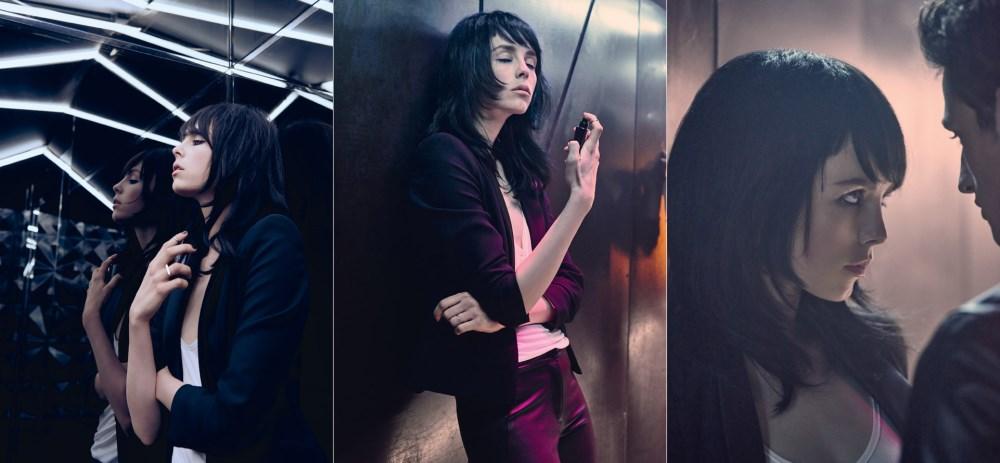 Edie Campbell, actrice brune de la Pub Black Opium 2015 pour Yves Saint Laurent