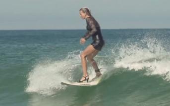 La surfeuse Maud Le Car fait du surf en talons hauts !
