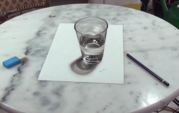 dessin 3d d'un verre d'eau