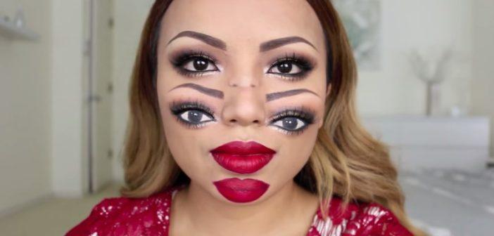 maquillage double visage pour halloween