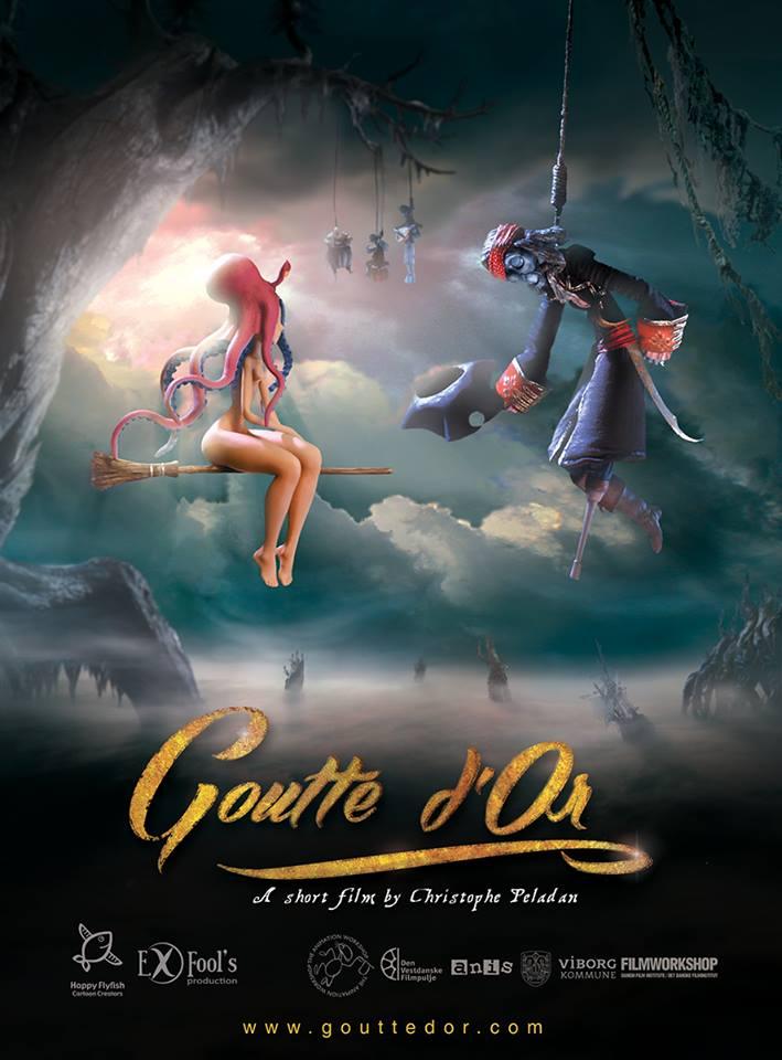 """Affiche du film stop-motion """"Goutte d'Or"""" de Christophe Peladan"""