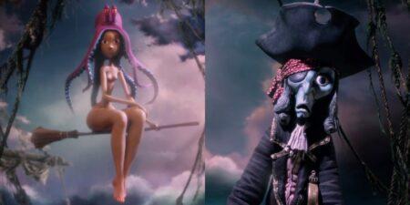 goutte d'or : court-métrage d'animation en stop-motion avec un pirate et une pieuvre