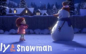 Conte de Noël avec une petite fille et un bonhomme de neige