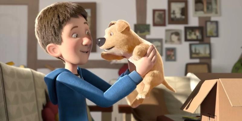 the present : court-métrage d'animation avec un chiot ampute