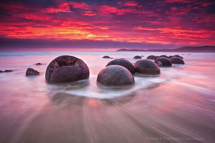 Les galets Moeraki, Nouvelle-Zélande