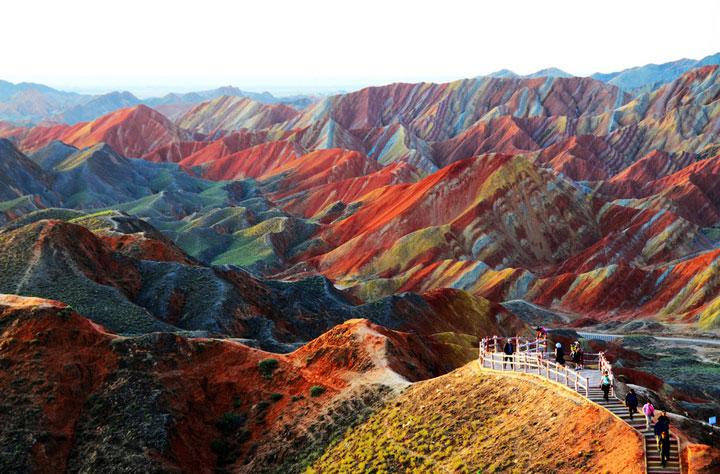 Le paysage somptueux de la Zhangye Danxia dans la province de Gansu, Chine