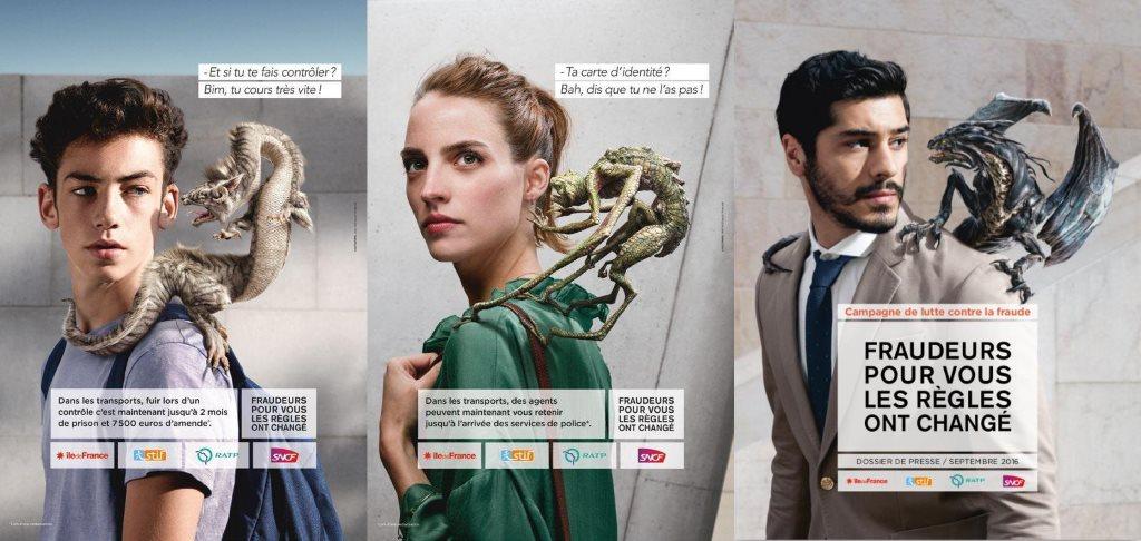 stoplafraude : la campagne anti-fraude de la ratp avec des dragons (2016)