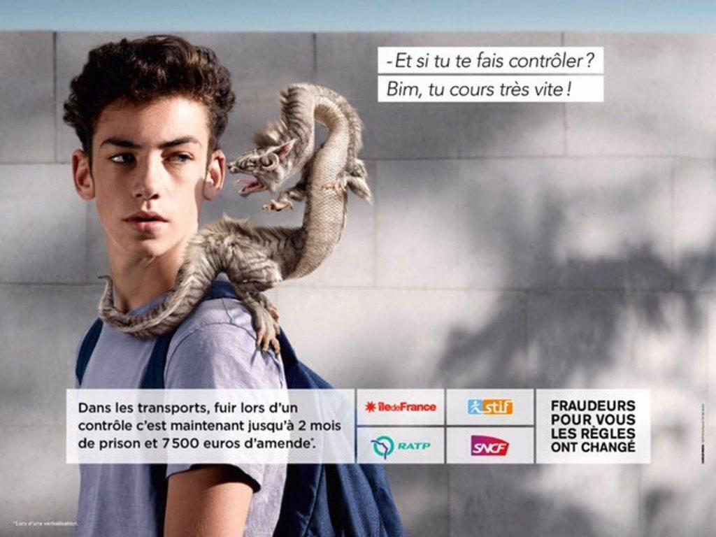 stoplafraude : la campagne anti-fraude de la ratp avec des dragons (2016) : la fuite
