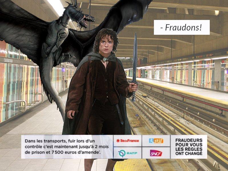 StopLaFraude, parodie de la pub fraude ratp dragon : Fraudon (Seigneur de Anneaux)