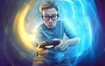 adolescent qui joue au jeux vidéo en ligne