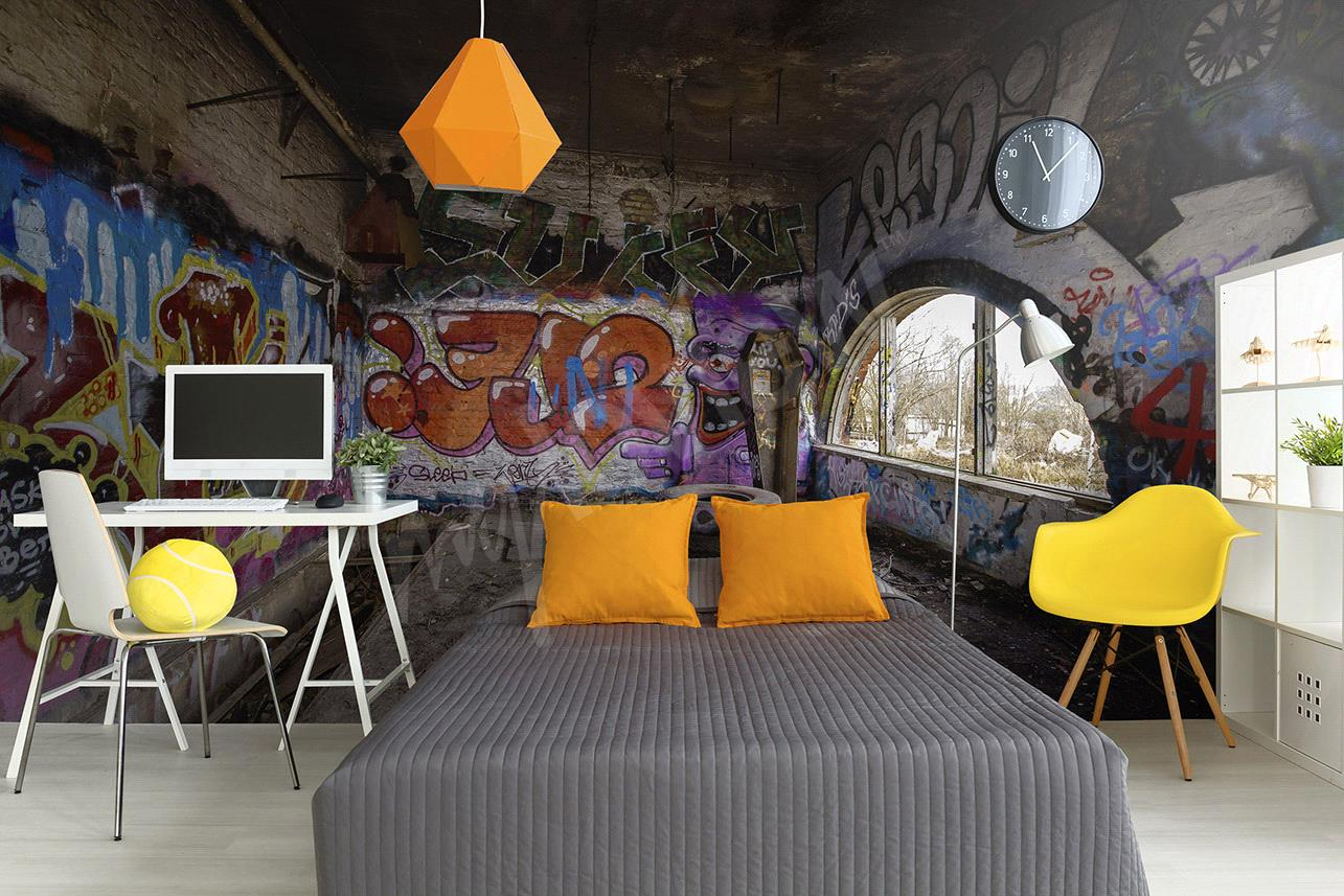 papier peint graffiti un style urbain pour votre d co. Black Bedroom Furniture Sets. Home Design Ideas