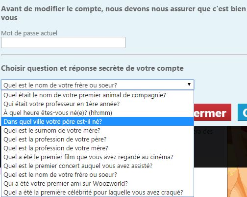 question en cas d'oubli du mot de passe