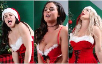 Des filles habillées en mère Noël chantent douce nuit sur un vibromasseur