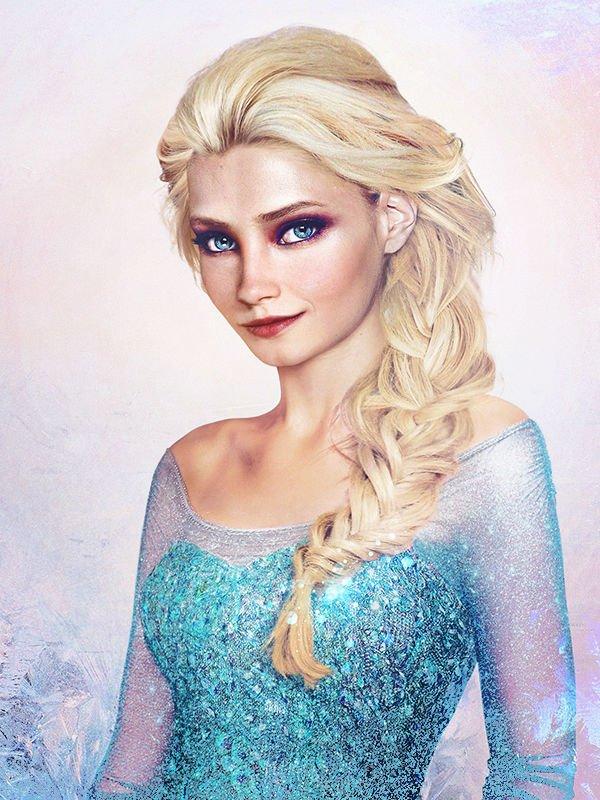 Les princesses Disney réelles : dessin réaliste de Elsa, La Reine des neiges (2013)