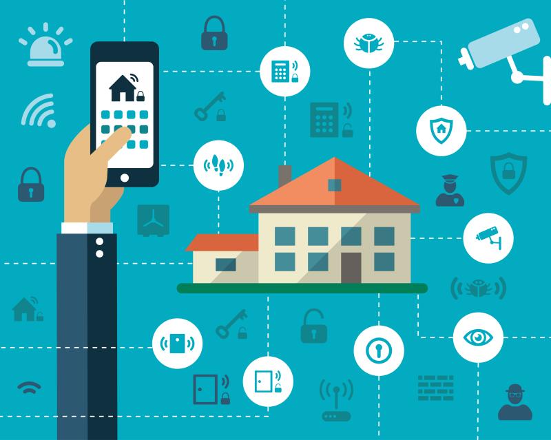le smartphone contrôle la maison intelligente