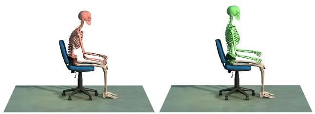 évolution de la posture du dos avec le tshirt connecté perco