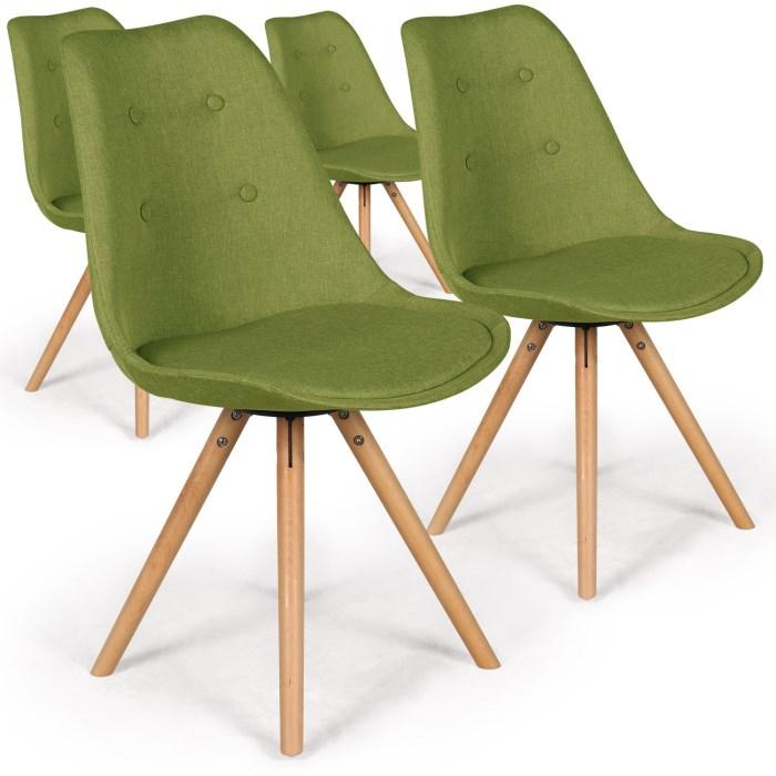 Les chaises scandinaves Goya Tissu Vert de Mezzo