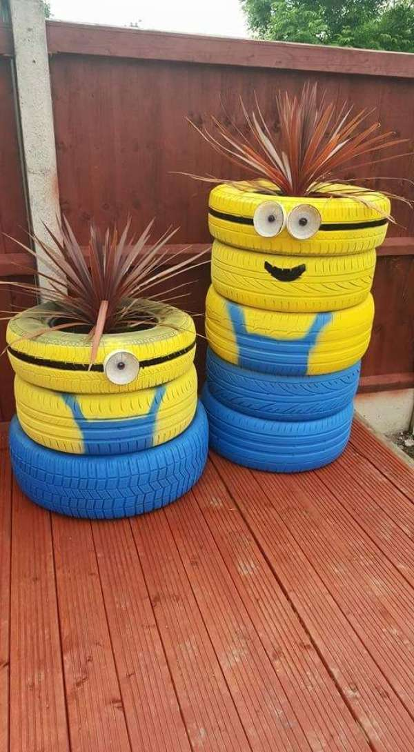 Des pneus reconvertis en jardinières Minions
