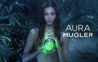 Zhenya Katava se la joue Avatar dans la pub 2017 du parfum Aura Mugler