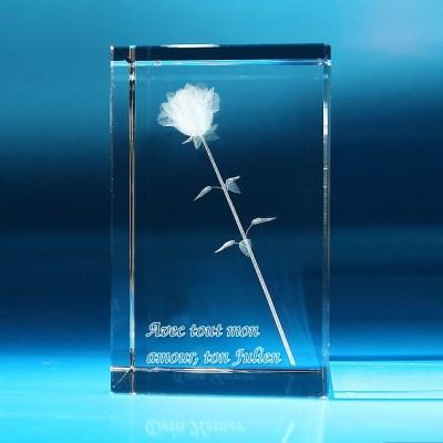 rose 3D dans le verre avec gravure personnalisée
