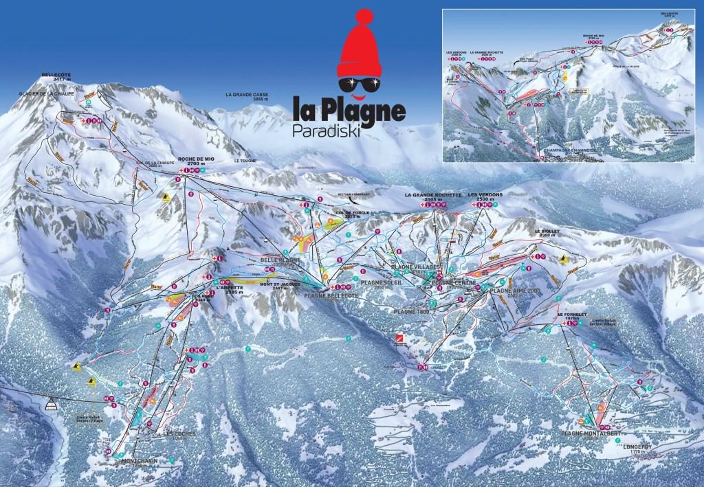 Plan du domaine skiable La Plagne / Paradiski