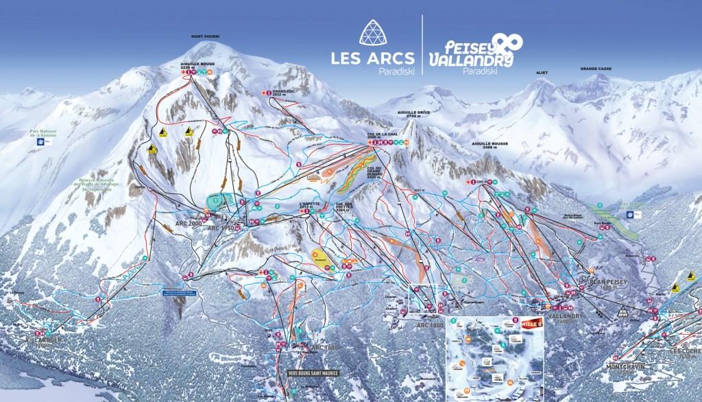 Plan du domaine skiable Les Arcs / Paradiski