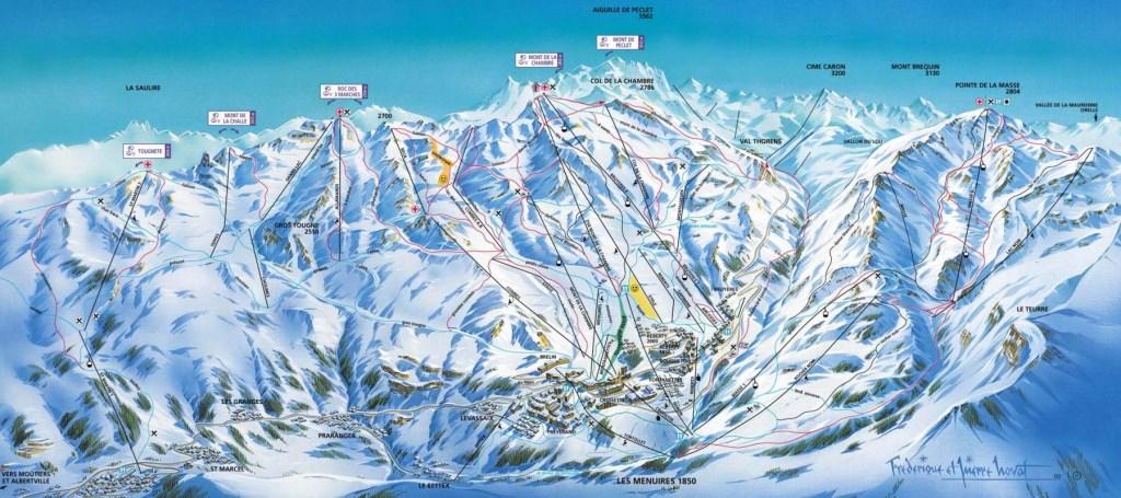 Plan du domaine skiable Les Menuires / 3 vallées