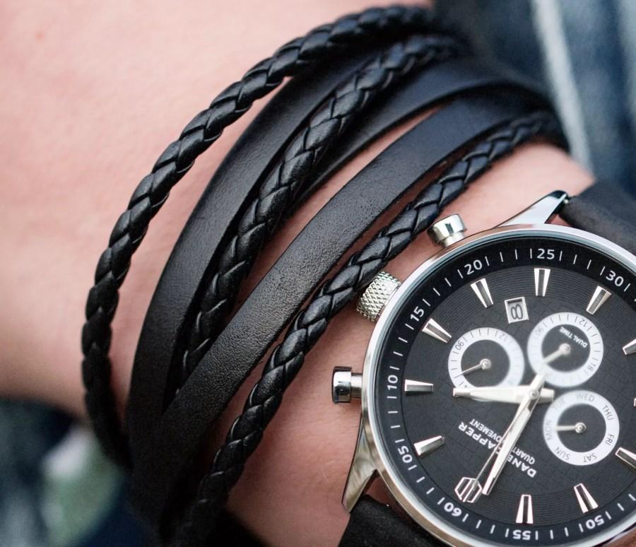 Duo de bracelets en cuir noir Trendhim à 30,95 €