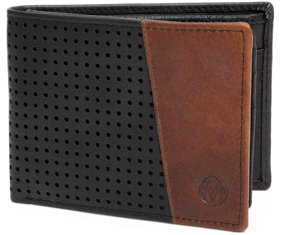 Le portefeuille Lucleon Montreal ajouré en cuir marron foncé et noir RFID