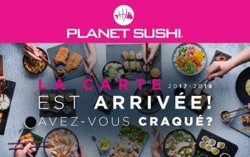 Planet Sushi carte 2017-2018