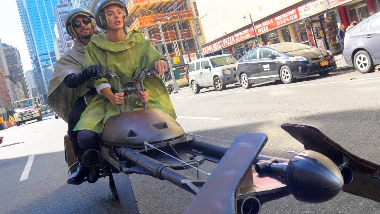 Camera Cachee Star Wars : Ils font une course de speeder bike star wars à new york