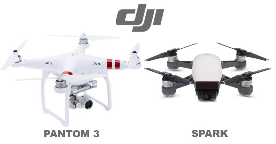 drones DJI Phantom 3 et DJI Spark