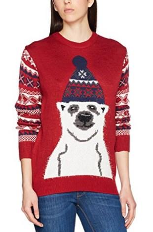 pull moche de Noël pour femme avec un ours