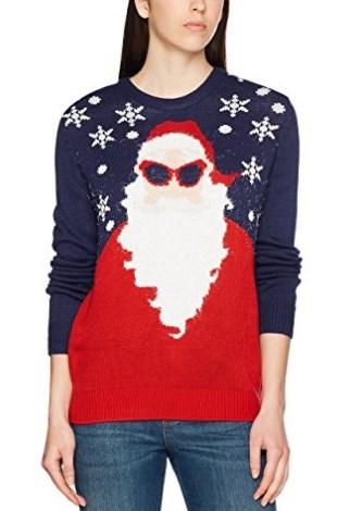 pull moche de Noël pour femme avec une Père Noël hipster