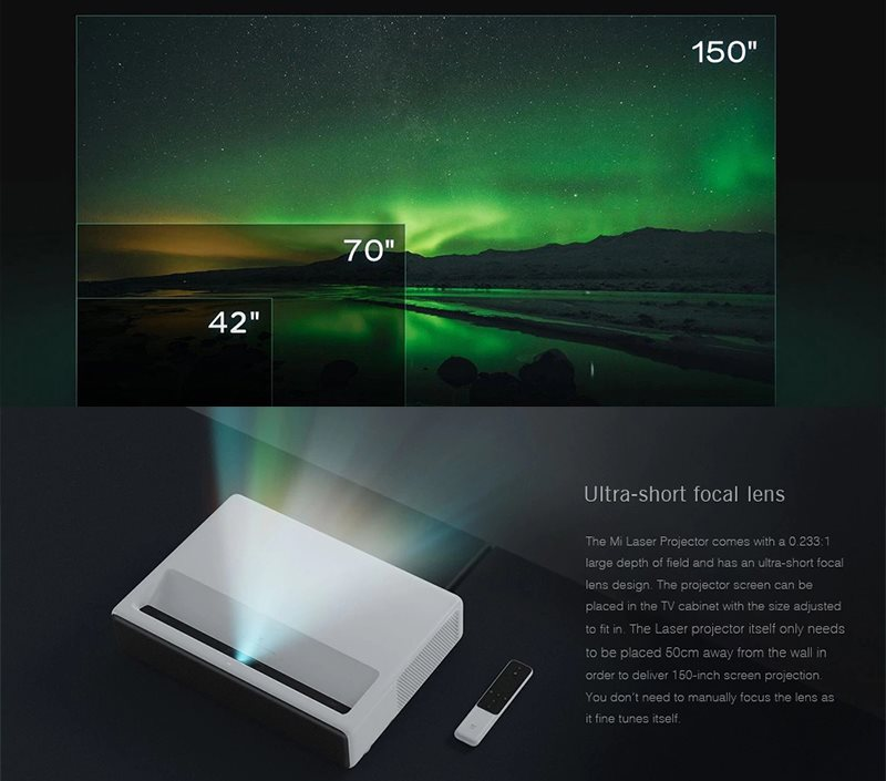 soldes le vid oprojecteur laser 4k xiaomi mi en promo. Black Bedroom Furniture Sets. Home Design Ideas
