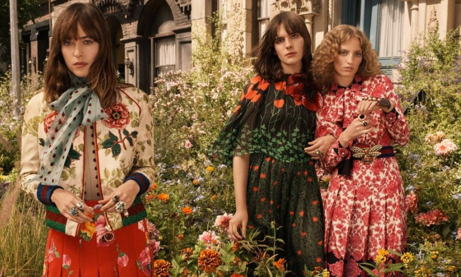Dakota Johnson, Hari Nef and Petra Collins: models of the Gucci Bloom 2018 perfume ad