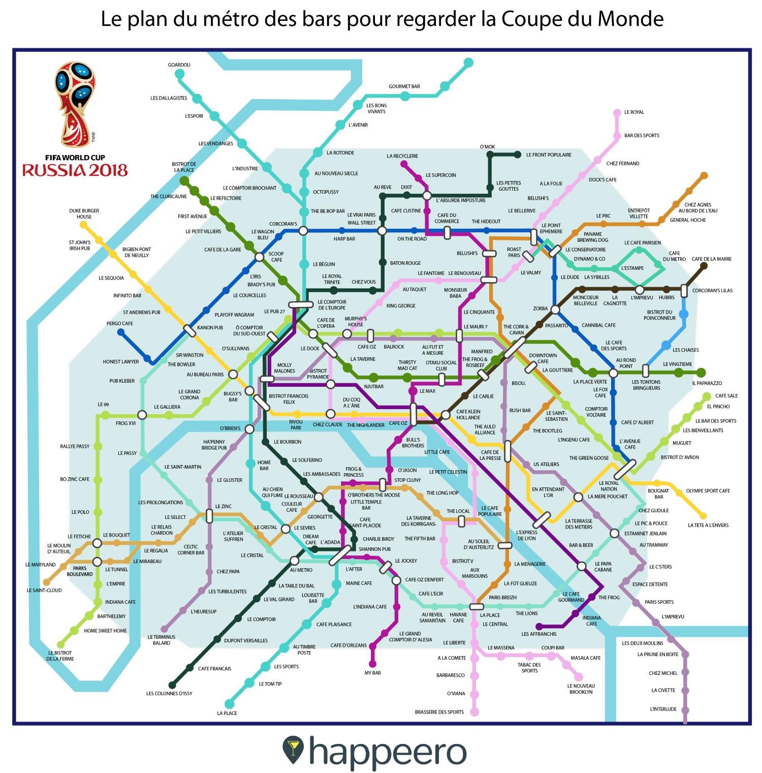 Le plan de métro des bars pour regarder la coupe du monde 2018 à Paris