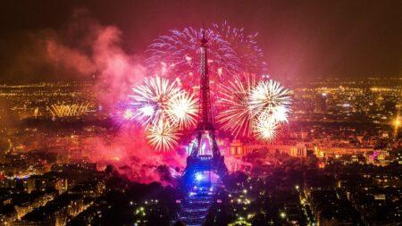 Le feu d'artifice du 14 juillet 2018 à la Tour Eiffel Paris