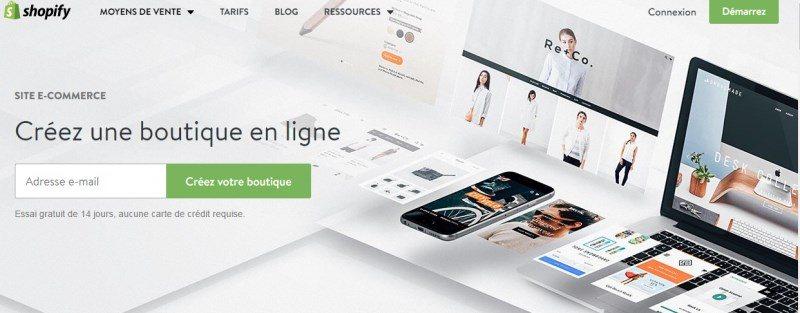 shopify : création de boutique en ligne