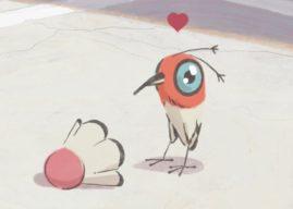 Changeover : un oiseaux tombe amoureux d'un volant de badminton